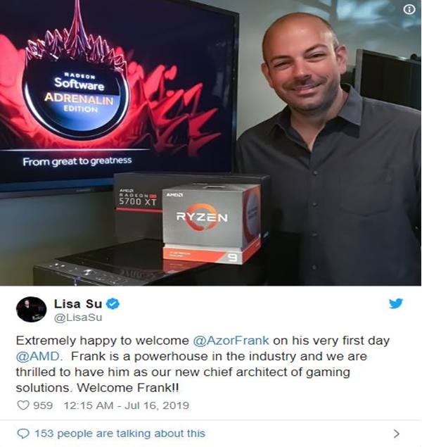 Dell's Co-Founder, Frank Azor joins AMD as Chief Architect of gaming